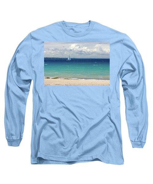 Long Sleeve T-Shirt featuring the photograph Lake Huron Sailboat by Meta Gatschenberger