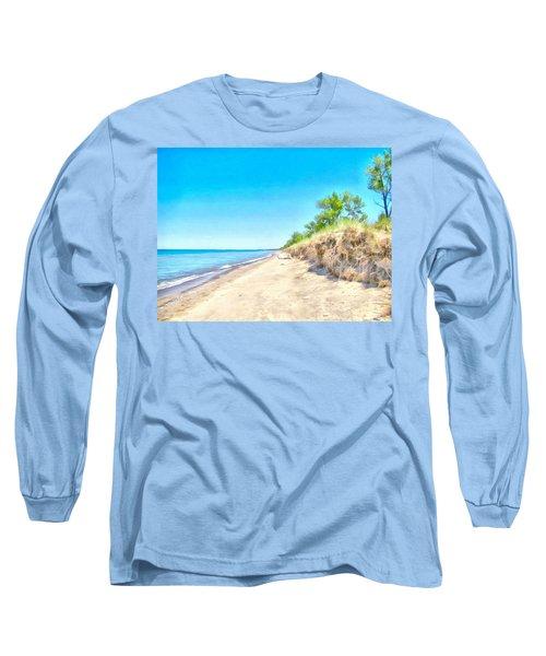 Lake Huron Shoreline Long Sleeve T-Shirt by Maciek Froncisz