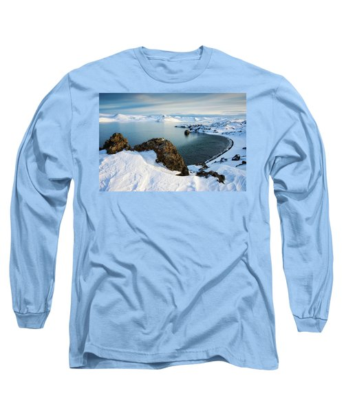 Long Sleeve T-Shirt featuring the photograph Lake Kleifarvatn Iceland In Winter by Matthias Hauser