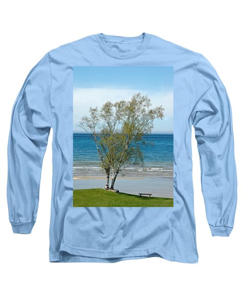 Long Sleeve T-Shirt featuring the photograph Lake Michigan Birch Tree by LeeAnn McLaneGoetz McLaneGoetzStudioLLCcom