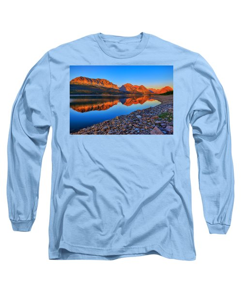 Long Sleeve T-Shirt featuring the photograph Lake Sherburne Dawn by Greg Norrell
