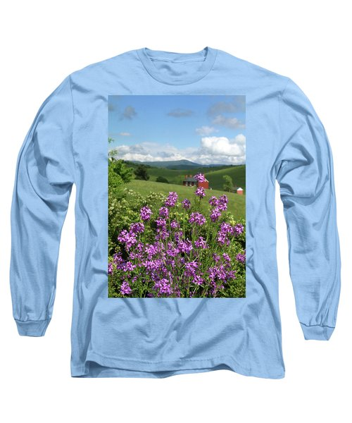 Long Sleeve T-Shirt featuring the photograph Landscape With Purple Flowers by Emanuel Tanjala