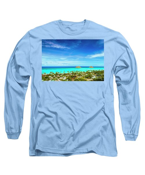 Long Sleeve T-Shirt featuring the photograph Lanikai Beach From The Pillbox Trail by Aloha Art
