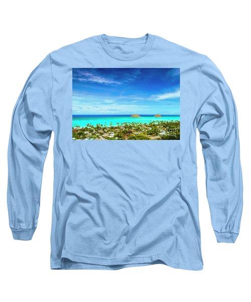 Lanikai Beach From The Pillbox Trail Long Sleeve T-Shirt