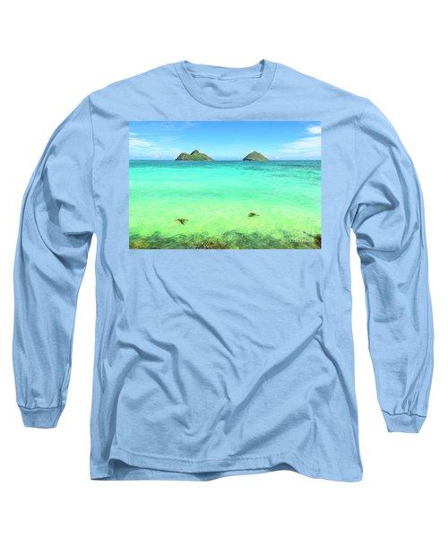 Lanikai Beach Two Sea Turtles And Two Mokes Long Sleeve T-Shirt by Aloha Art