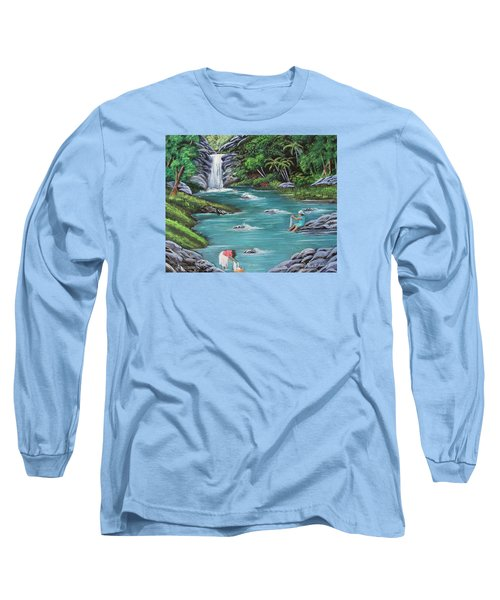 Lavando Ropa    Washing Clothes Long Sleeve T-Shirt by Luis F Rodriguez