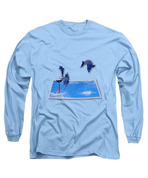 Leaping Dolphins Long Sleeve T-Shirt by Roger Wedegis