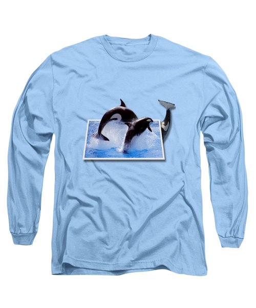 Leaping Orcas Long Sleeve T-Shirt by Roger Wedegis