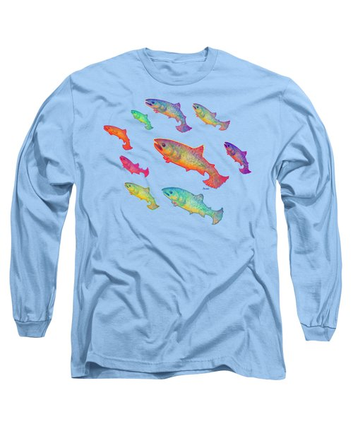 Leaping Salmon Shirt Image Long Sleeve T-Shirt by Teresa Ascone