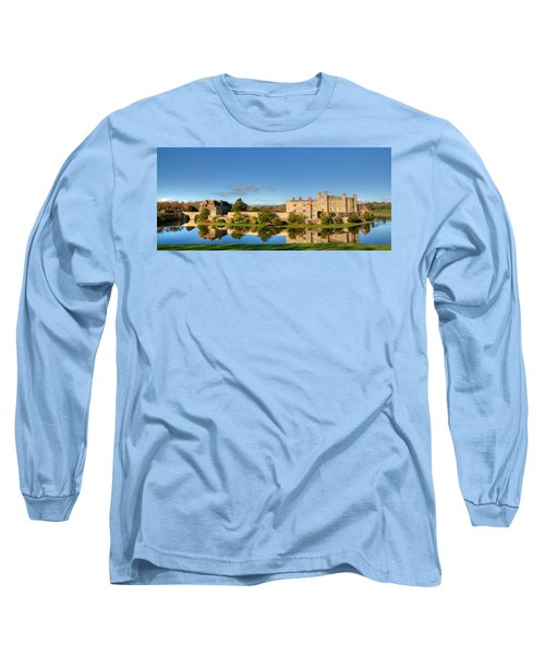Leeds Castle And Moat Reflections Long Sleeve T-Shirt