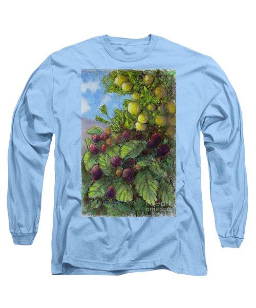 Lemons And Berries Long Sleeve T-Shirt by Laurie Morgan