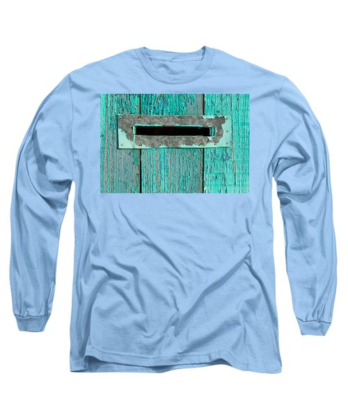 Long Sleeve T-Shirt featuring the photograph Letter Box On Blue Wood by John Williams