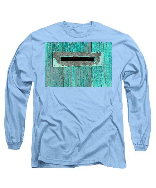 Letter Box On Blue Wood Long Sleeve T-Shirt