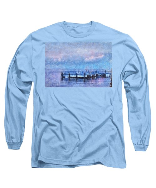 Long Sleeve T-Shirt featuring the mixed media Lewes Pier by Trish Tritz