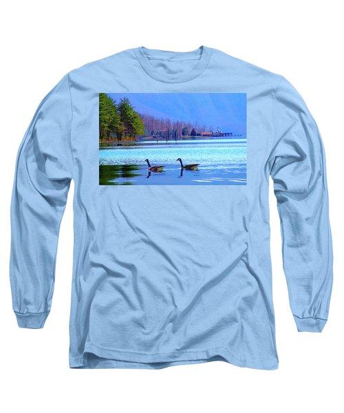 Lighthouse Geese, Smith Mountain Lake Long Sleeve T-Shirt