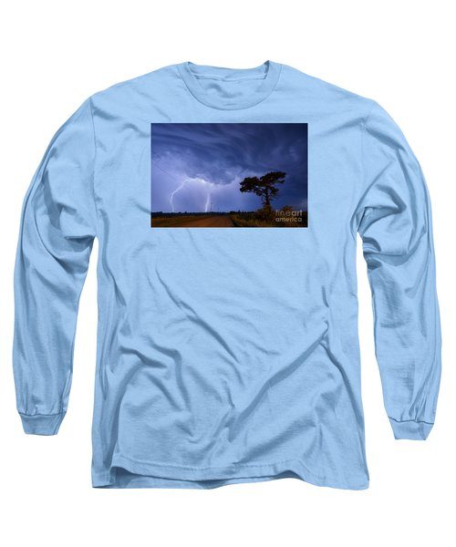 Lightning Storm On A Lonely Country Road Long Sleeve T-Shirt by Art Whitton