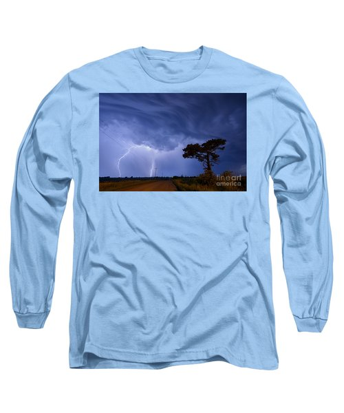 Lightning Storm On A Lonely Country Road Long Sleeve T-Shirt