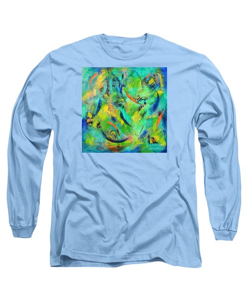 Long Sleeve T-Shirt featuring the painting Little Fishes by Lyn Olsen