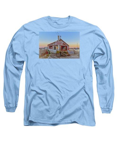 Long Sleeve T-Shirt featuring the photograph Lobster Landing Sunset by Edward Fielding