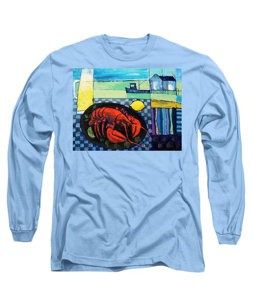 Long Sleeve T-Shirt featuring the painting Lobster by Mikhail Zarovny
