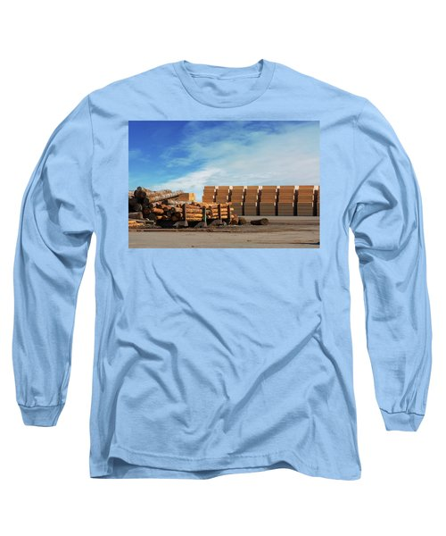 Logs And Plywood At Lumber Mill Long Sleeve T-Shirt