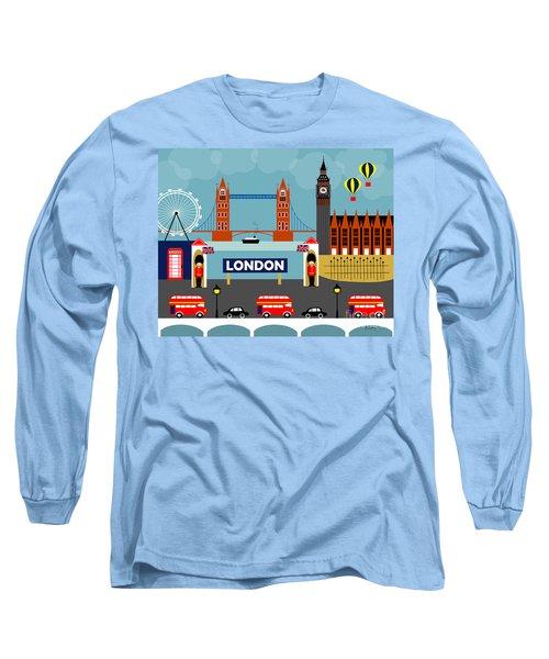 London England Horizontal Scene - Collage Long Sleeve T-Shirt by Karen Young