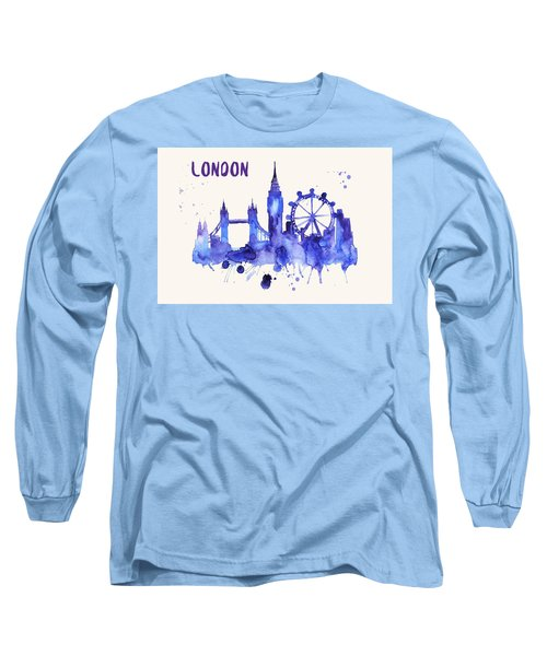 London Skyline Watercolor Poster - Cityscape Painting Artwork Long Sleeve T-Shirt