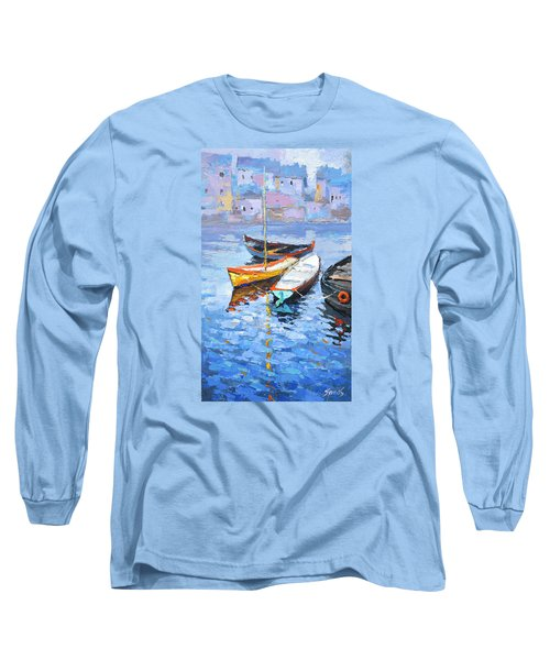 Lonely Boats  Long Sleeve T-Shirt by Dmitry Spiros