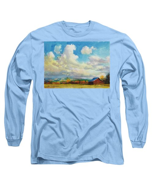 Long Sleeve T-Shirt featuring the painting Lonesome Barn by Steve Henderson