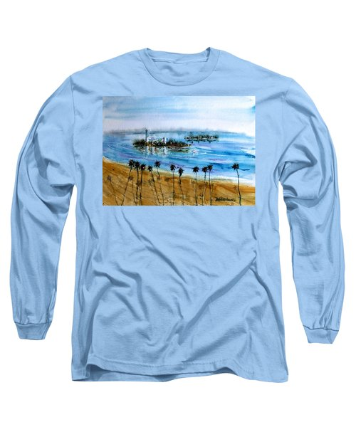 Long Beach Oil Islands Before Sunset Long Sleeve T-Shirt by Debbie Lewis