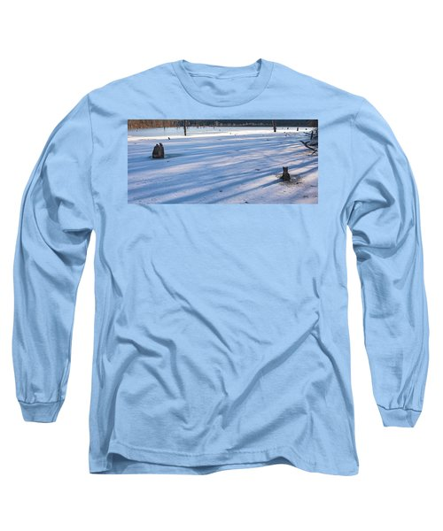 Long Blue Shadows Of Early Morning Long Sleeve T-Shirt by Angelo Marcialis