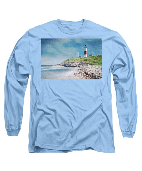 Long Sleeve T-Shirt featuring the digital art Long Island Lighthouse by Kai Saarto