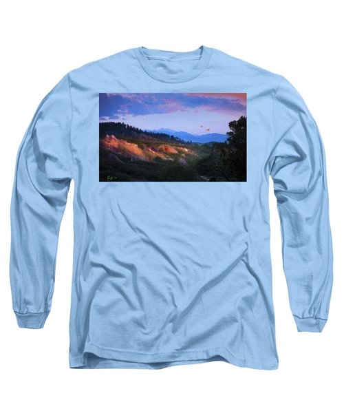 Longs Peak And Glowing Rocks Long Sleeve T-Shirt by J Griff Griffin