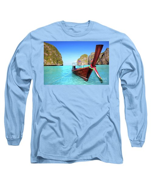 Longtail Boat At Maya Bay Long Sleeve T-Shirt