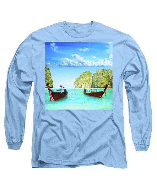 Longtail Boats At Maya Bay Long Sleeve T-Shirt