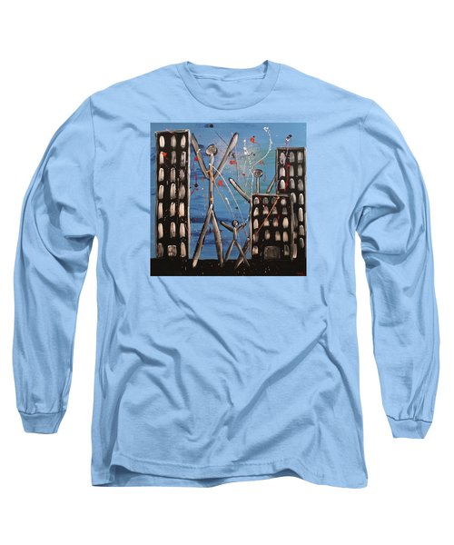 Long Sleeve T-Shirt featuring the painting Lost Cities 13-003 by Mario Perron
