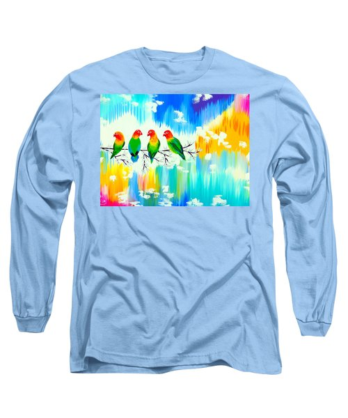 Lovebirds On A Branch Long Sleeve T-Shirt by Cathy Jacobs