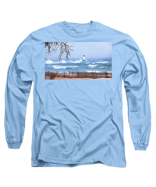 Ludington Winter Shore  Long Sleeve T-Shirt by Dick Bourgault