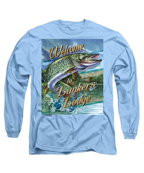 Lunkers Lodge Sign Long Sleeve T-Shirt by Jon Q Wright
