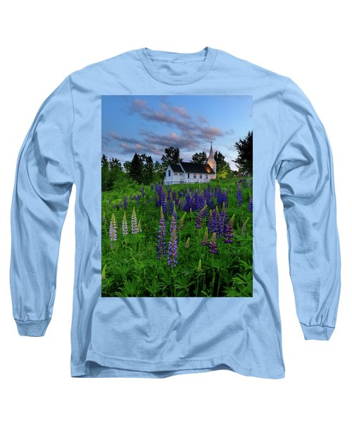 Lupines By The Church Long Sleeve T-Shirt