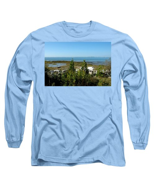 Long Sleeve T-Shirt featuring the photograph Mackinac Island View Of Bridge by LeeAnn McLaneGoetz McLaneGoetzStudioLLCcom