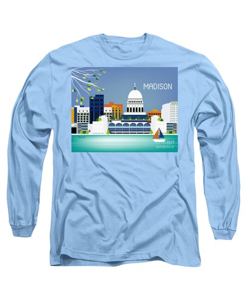 Madison Wisconsin Horizontal Skyline Long Sleeve T-Shirt by Karen Young