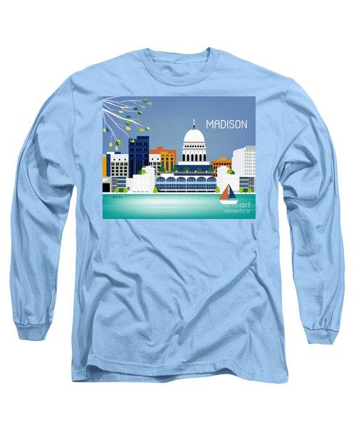 Madison Wisconsin Horizontal Skyline Long Sleeve T-Shirt