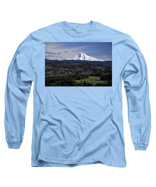 Long Sleeve T-Shirt featuring the photograph Majestic Mt Hood by Jim Walls PhotoArtist