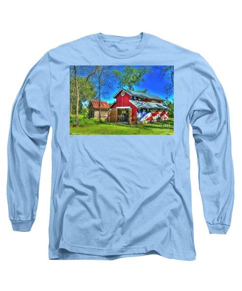 Long Sleeve T-Shirt featuring the photograph Make America Great Again Barn American Flag Art by Reid Callaway