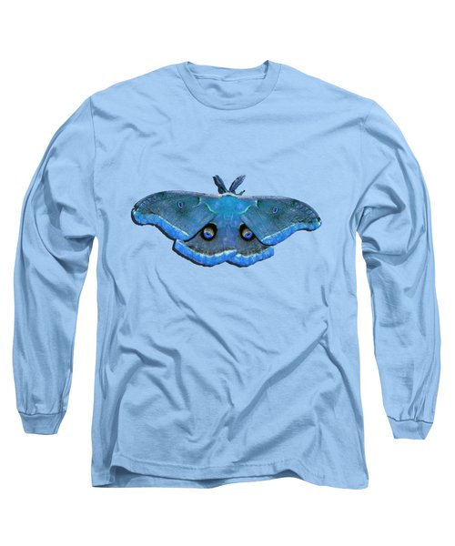 Male Moth Medium Blue .png Long Sleeve T-Shirt
