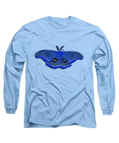 Long Sleeve T-Shirt featuring the photograph Male Moth Navy Blue .png by Al Powell Photography USA