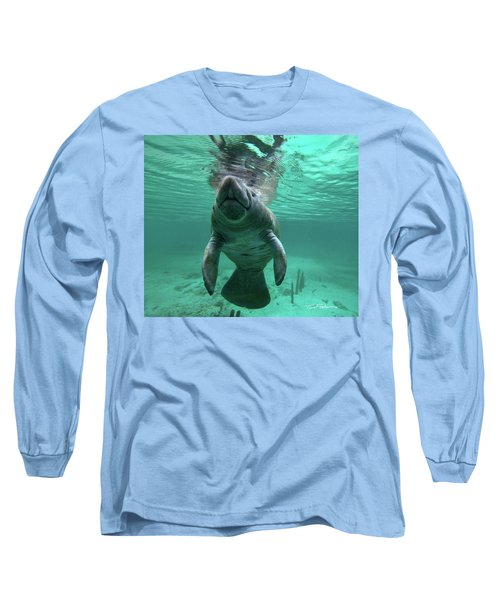 Manatee Breathing Long Sleeve T-Shirt by Tim Fitzharris