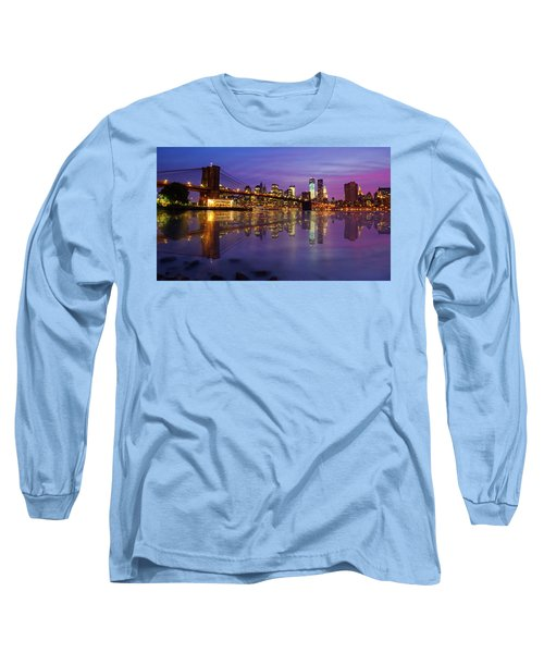 Long Sleeve T-Shirt featuring the photograph Manhattan Reflection by Mircea Costina Photography