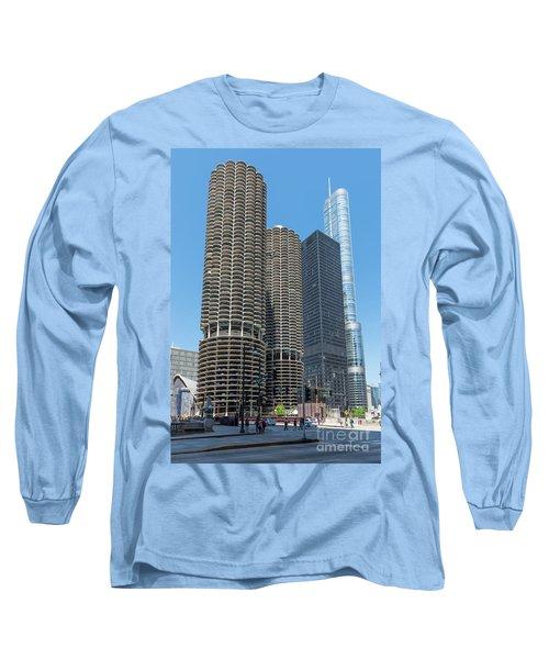 Marina City, Ama Plaza, And Trump Tower Long Sleeve T-Shirt